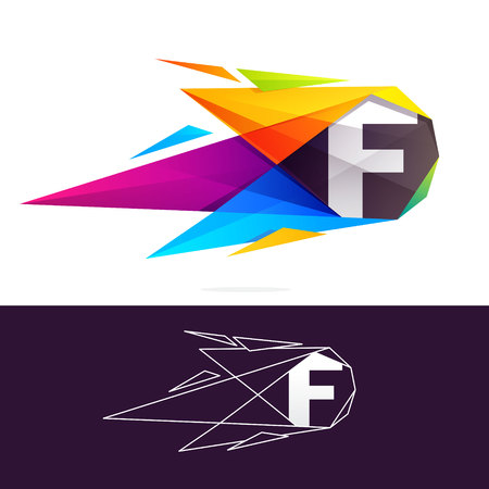 F letter logo with polygonal comet. Abstract low poly multicolored vector design template elements