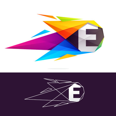 E letter logo with polygonal comet. Abstract low poly multicolored vector design template elements for your application or corporate identity.