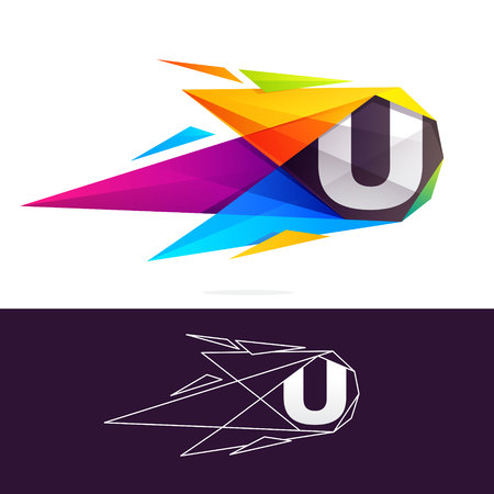 U letter logo with polygonal comet. Abstract low poly multicolored vector design template elements Illustration