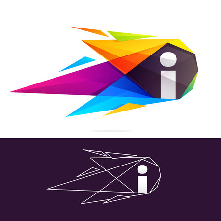 Letter I logo with polygonal comet. Abstract low poly multicolored vector design template elements for your application or corporate identity.