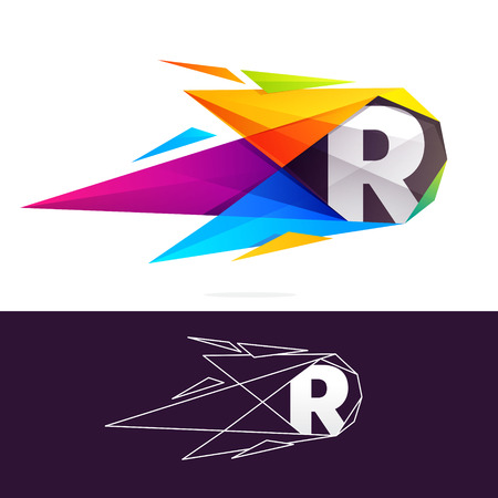R letter logo with polygonal comet. Abstract low poly multicolored vector design template elements for your application or corporate identity. Vectores