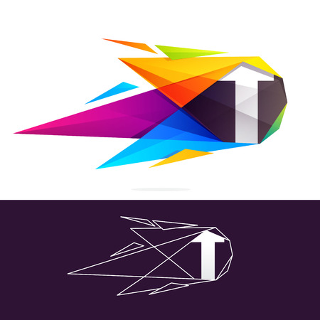 T letter logo with polygonal comet. Abstract low poly multicolored vector design template elements for your application or corporate identity.