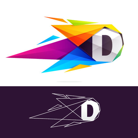 D letter logo with polygonal comet. Abstract low poly multicolored vector design template elements for your application or corporate identity.