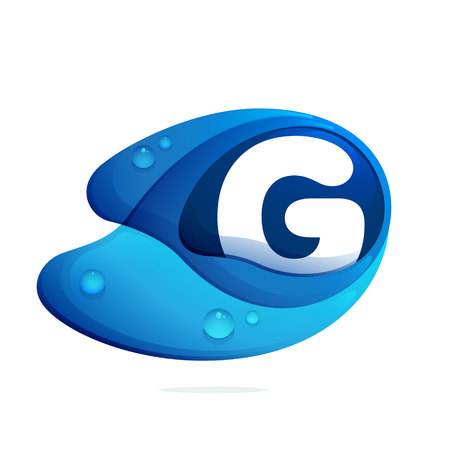 Letter G with blue water drops. Letter vector design template elements for your application or corporate identity.