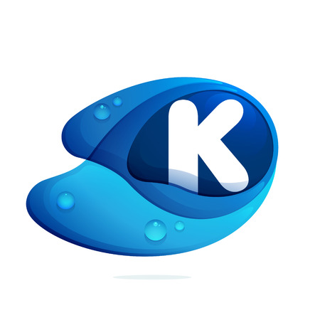 K letter with blue water drops. Letter vector design template elements for your application or corporate identity.