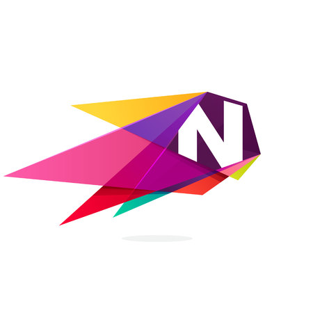 Letter N icon with polygonal comet. Abstract low poly multicolored vector design template elements for your application or corporate identity.