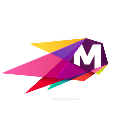M letter logo with polygonal comet. Abstract low poly multicolored vector design template elements for your application or corporate identity.