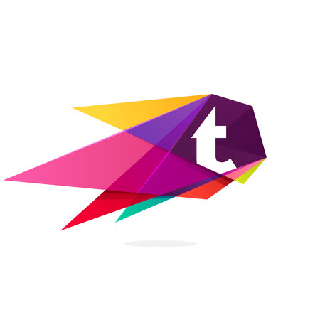 Letter T icon with polygonal comet. Abstract low poly multicolored vector design template elements for your application or corporate identity. Illustration