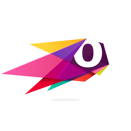 O letter logo with polygonal comet. Abstract low poly multicolored vector design template elements for your application or corporate identity. Illustration