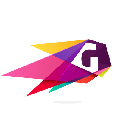 Letter G icon with polygonal comet. Abstract low poly multicolored vector design template elements for your application or corporate identity.