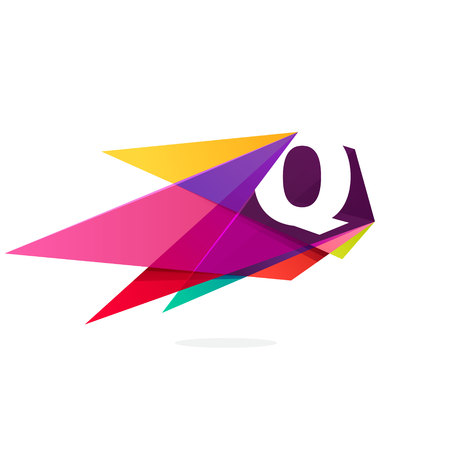 Letter Q icon with polygonal comet. Abstract low poly multicolored vector design template elements for your application or corporate identity.