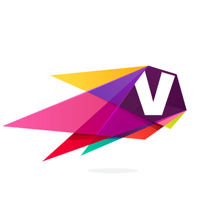 V letter logo with polygonal comet. Abstract low poly multicolored vector design template elements for your application or corporate identity.