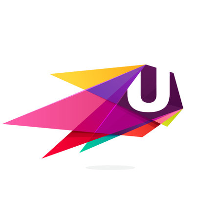Letter U icon with polygonal comet. Abstract low poly multicolored vector design template elements for your application or corporate identity. Stock Illustratie