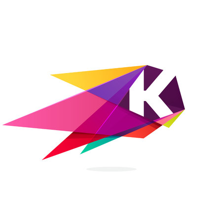 Letter K icon with polygonal comet. Abstract low poly multicolored vector design template elements for your application or corporate identity.