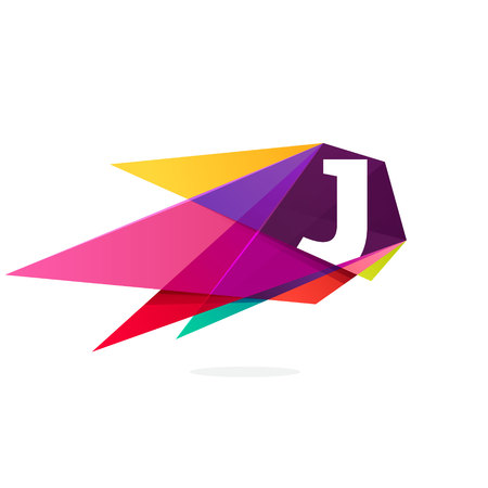 Letter J icon with polygonal comet. Abstract low poly multicolored vector design template elements for your application or corporate identity. Illustration