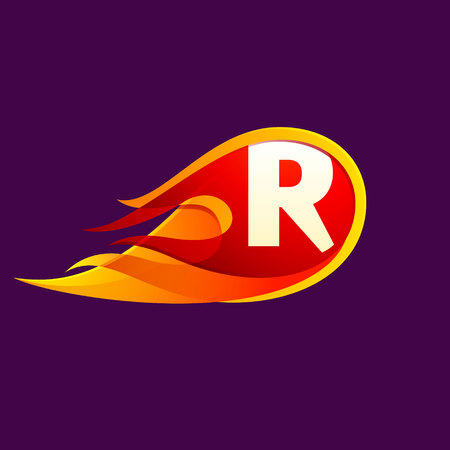 R letter with red fire flames. Letter vector design template elements for your application or corporate identity.