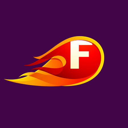 F letter with red fire flames. Letter vector design template elements for your application or corporate identity. Illustration