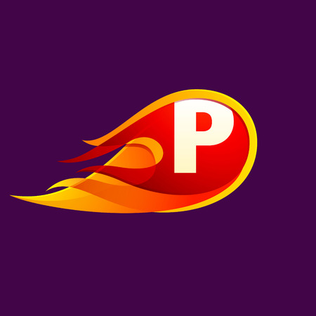P letter with red fire flames. Letter vector design template elements for your application or corporate identity.