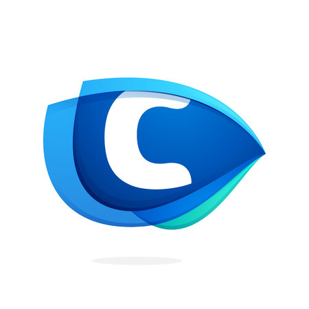 C letter logo with blue wing or eye. Abstract trendy letter multicolored vector design template elements for your application or corporate identity.