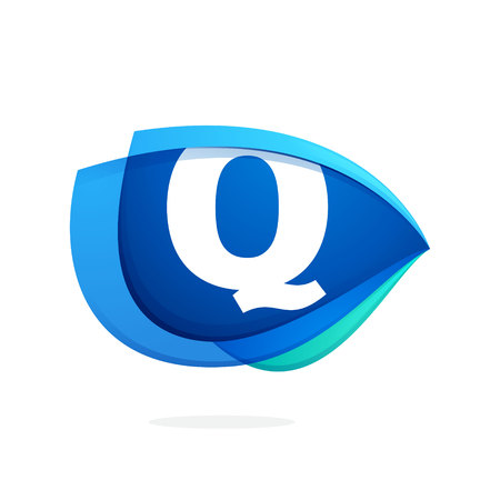 Q letter logo with blue wing or eye. Abstract trendy letter multicolored vector design template elements for your application or corporate identity. Illustration