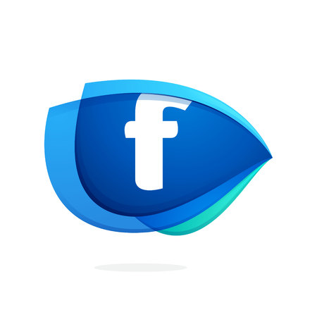 F letter logo with blue wing or eye. Abstract trendy letter multicolored vector design template elements for your application or corporate identity.