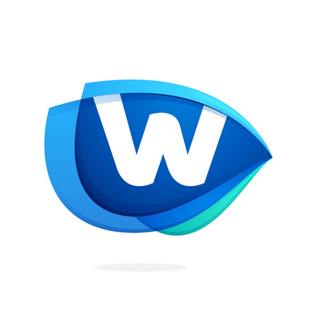 W letter logo with blue wing or eye. Abstract trendy letter multicolored vector design template elements for your application or corporate identity. Illustration