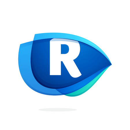 R letter logo with blue wing or eye. Abstract trendy letter multicolored vector design template elements for your application or corporate identity.