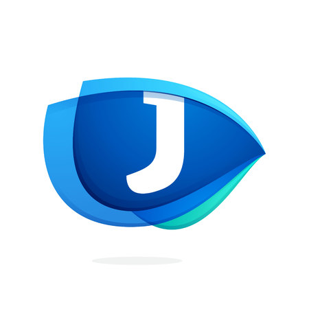 J letter logo with blue wing or eye. Abstract trendy letter multicolored vector design template elements for your application or corporate identity.