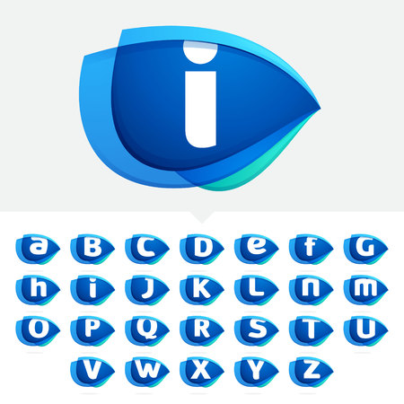 Alphabet letters set with blue wing or eye. Abstract trendy letter multicolored vector design template elements for your application or corporate identity. Illustration