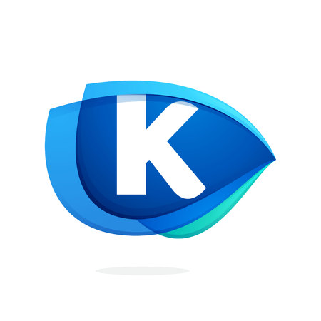 K letter logo with blue wing or eye. Abstract trendy letter multicolored vector design template elements for your application or corporate identity. Illustration