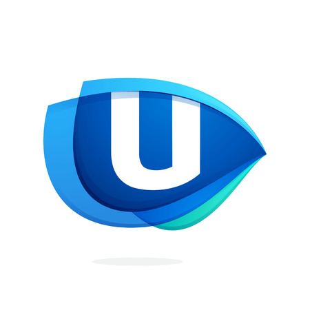 U letter logo with blue wing or eye. Abstract trendy letter multicolored vector design template elements for your application or corporate identity.