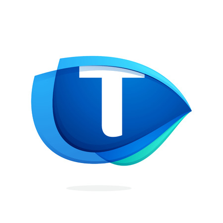T letter logo with blue wing or eye. Abstract trendy letter multicolored vector design template elements for your application or corporate identity. Illustration
