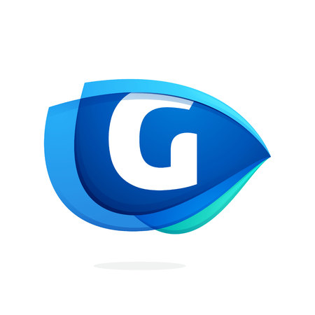 G letter logo with blue wing or eye. Abstract trendy letter multicolored vector design template elements for your application or corporate identity.