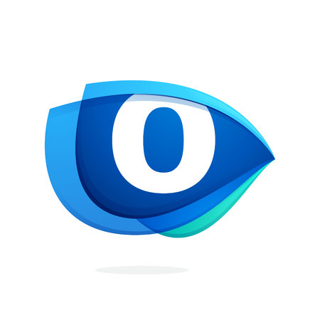 O letter logo with blue wing or eye. Abstract trendy letter multicolored vector design template elements for your application or corporate identity.