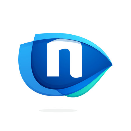 N letter logo with blue wing or eye. Abstract trendy letter multicolored vector design template elements for your application or corporate identity.