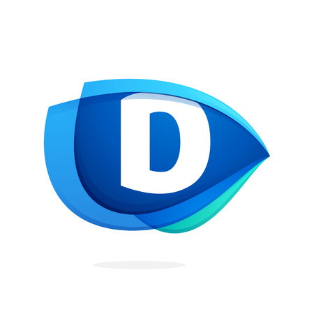 D letter logo with blue wing or eye. Abstract trendy letter multicolored vector design template elements for your application or corporate identity. Illustration