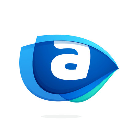 Letter A logo with blue wing or eye. Abstract trendy letter multicolored vector design template elements for your application or corporate identity. Illustration
