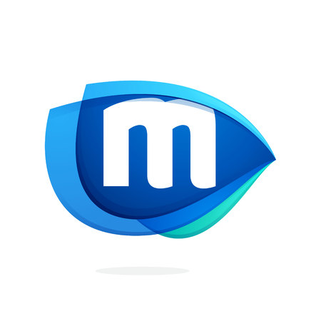 M letter logo with blue wing or eye. Abstract trendy letter multicolored vector design template elements for your application or corporate identity.