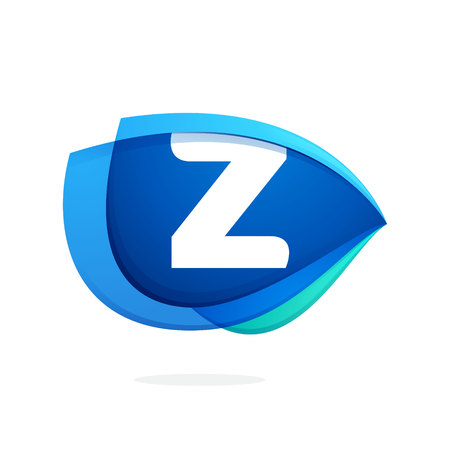 Z letter logo with blue wing or eye. Abstract trendy letter multicolored vector design template elements for your application or corporate identity. Illustration