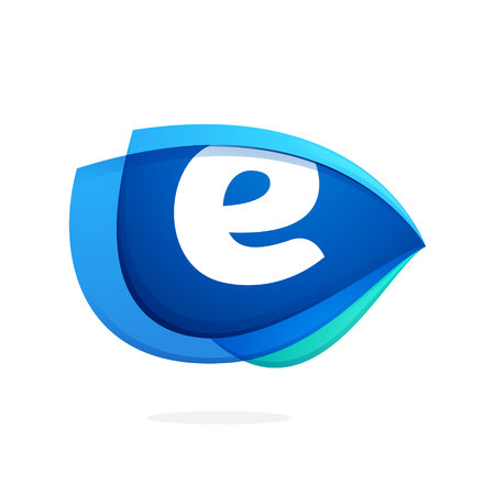 E letter logo with blue wing or eye. Abstract trendy letter multicolored vector design template elements for your application or corporate identity.