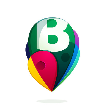 B letter with map tag. Vector design template elements for your application or corporate identity.