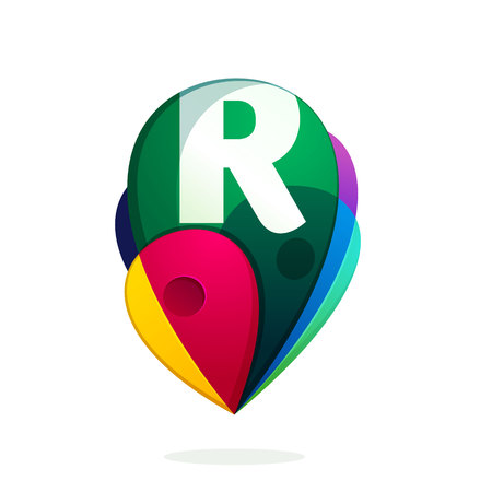 R letter with map tag. Vector design template elements for your application or corporate identity. Illustration