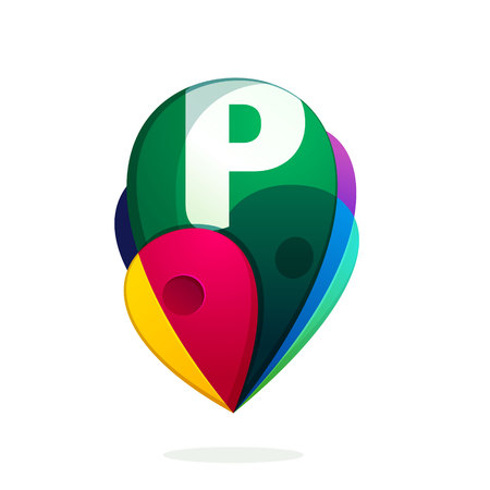 P letter with map tag. Vector design template elements for your application or corporate identity.