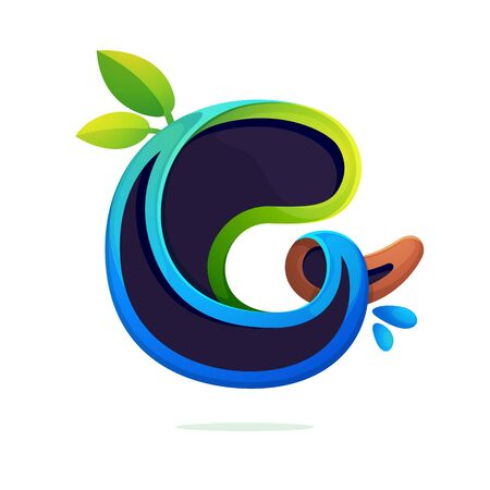G letter ecology stylized with green leaves and dew drops. Font style, vector design template elements for your eco friendly or organic label.