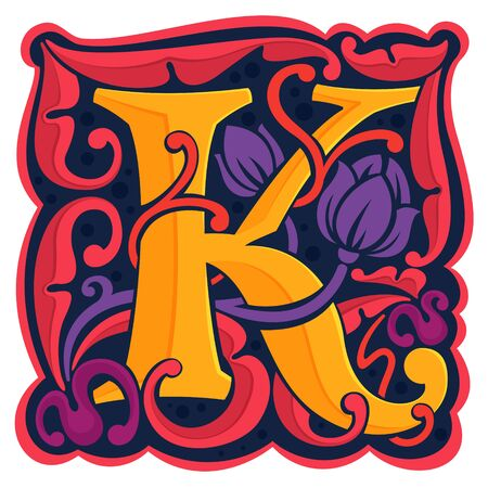 K letter colorful antique gothic initial. Font style, vector premium design template elements for your corporate identity, package, monogram, emblem, etc.