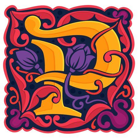 P-Buchstabe bunte antike gotische Initiale. Schriftstil, Vektor-Premium-Design-Vorlagenelemente für Ihre Unternehmensidentität, Ihr Paket, Ihr Monogramm, Ihr Emblem usw. Vektorgrafik
