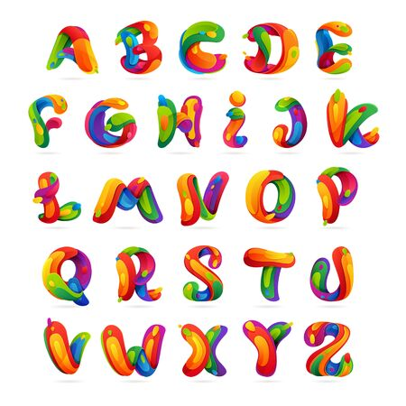 Fun english alphabet letters set. Multicolor vector design template elements for your application or corporate identity.  イラスト・ベクター素材
