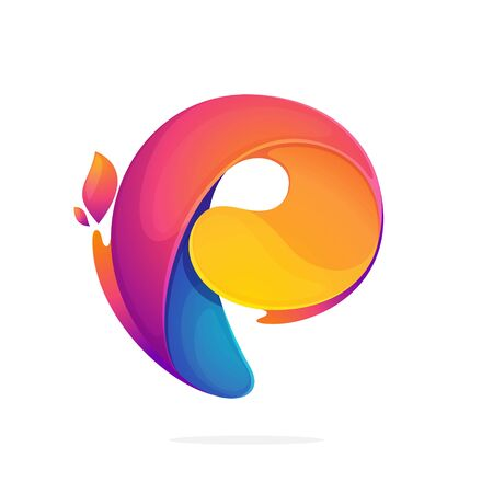 P letter logo consisting of fire flames. Font style, vector design template elements for your application or corporate identity.