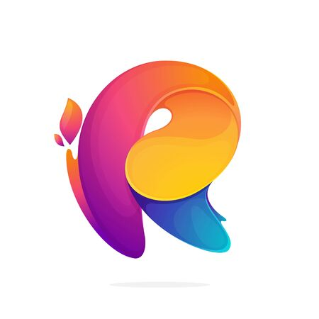 R letter logo consisting of fire flames. Font style, vector design template elements for your application or corporate identity. Illusztráció