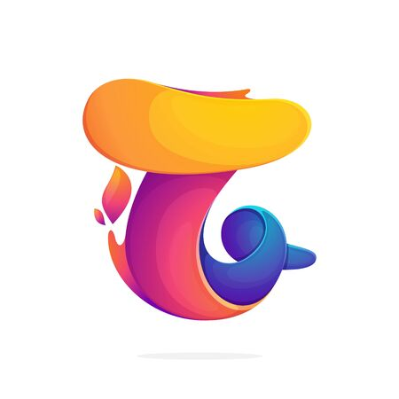T letter logo consisting of fire flames. Font style, vector design template elements for your application or corporate identity. Illusztráció